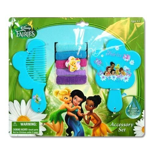 Tinkerbell Comb, Mirror & Hair Ponies Set