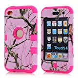 Super Spiderman Fashion Vivid Twig Branch Print New Dual Layer Protection ( PC + Silicone ) Hybrid Back Case Cover for Apple iPod Touch 4 4th Generation with Logo Cutout - Inner Plum