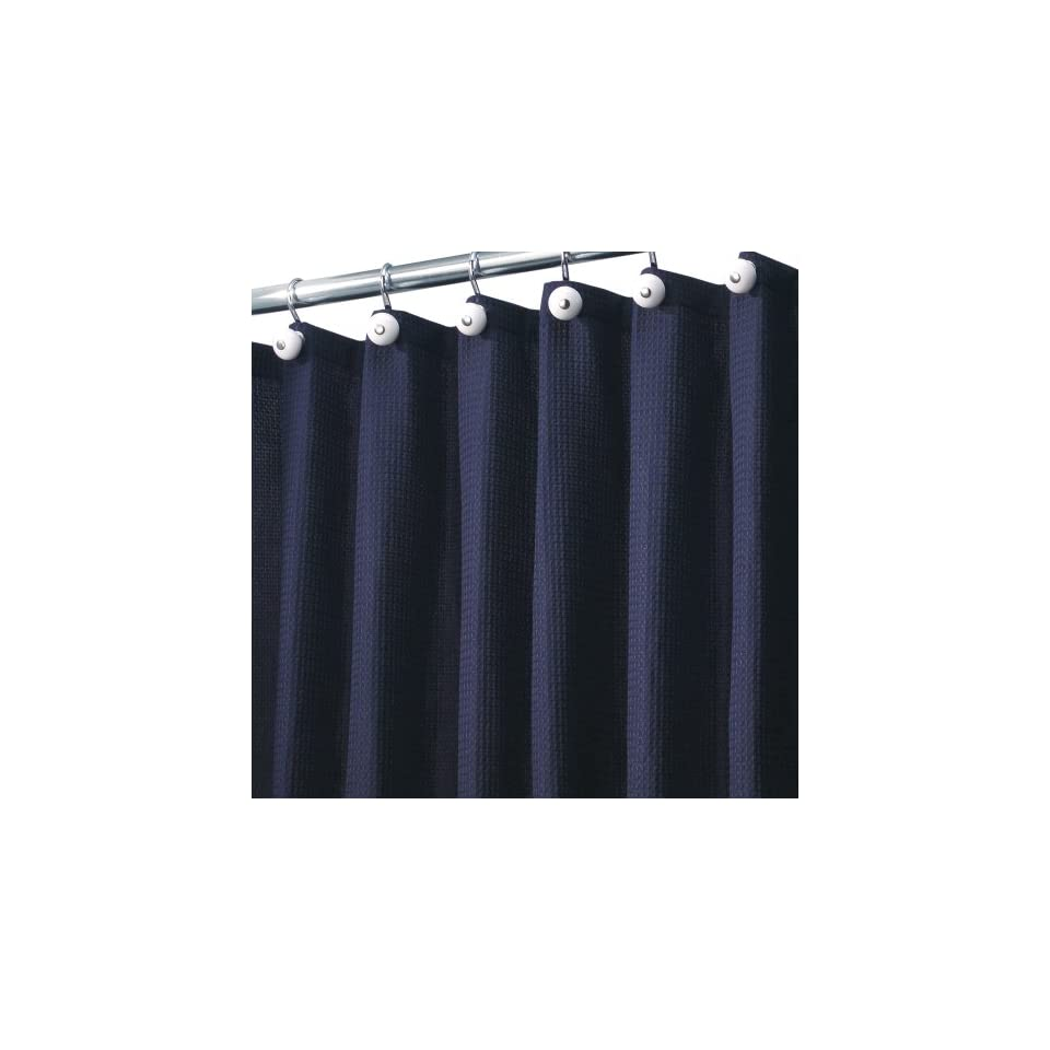 Double Swag Shower Curtain Liner Rings Navy Blue