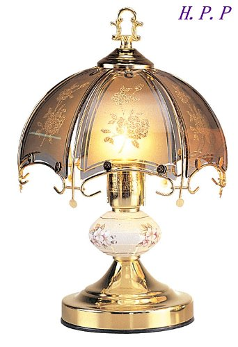 NEW Glass Dark glass floral Scene Touch Lamp 14.3'' H Gold Finish Base coupon codes 2016