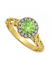 Halo Filigree Engagement Ring With Peridot And CZ In 18K Yellow Gold Plated Vermeil 0.66 CT TGW