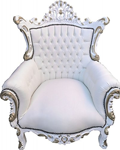 Casa Padrino Baroque armchair Al Capone White / white with gold decoration - Antique furniture