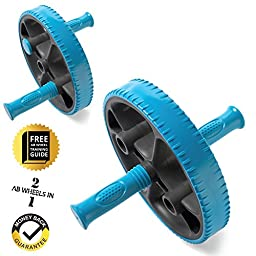 Ab Wheel with Adjustable Handles - Exercise More Muscle Groups - Contains Ab Wheel Training Guide - For Beginner or Advanced Exerciser