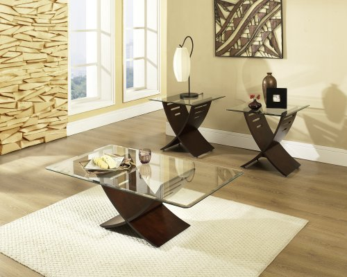 Cafe Espresso Set of 3 Table Bases w.Glass Tops (Wood Coffee Table Set Of 3 compare prices)