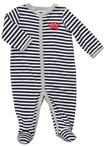 Carters Boys Newborn-9 Months Crab Terry Snap Footed Onesie (9 Months, Navy)