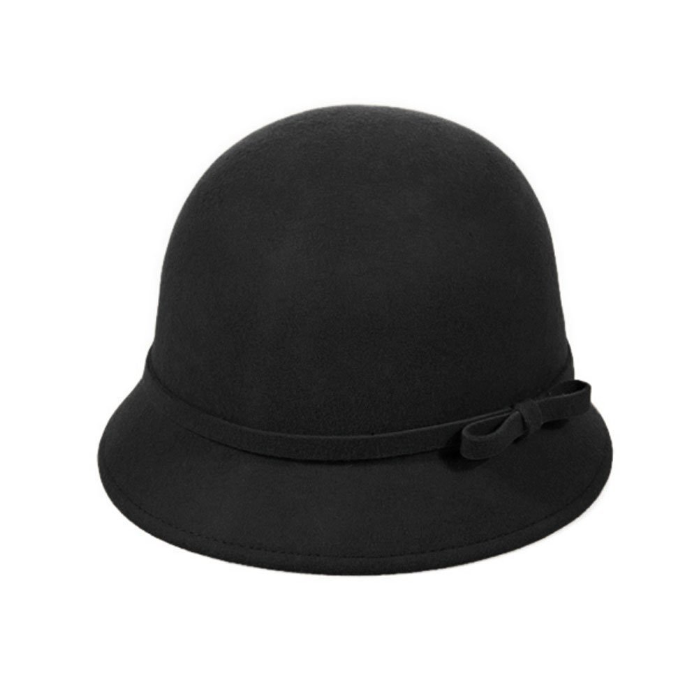 Vbiger Fashion New Women Vintage Wool Round Fedora Cloche Cap Wool Felt Bowler Hat 0
