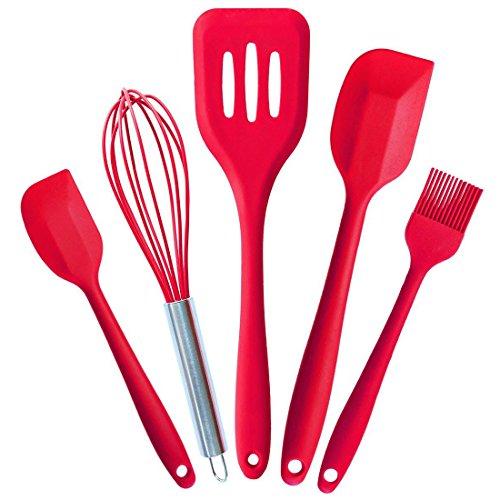 ticent Premium en silicone ustensiles de cuisine (Lot de 5) Passe au lave-vaisselle pour four cuisson cuisson Cuillères à spatules Turner (Rouge)