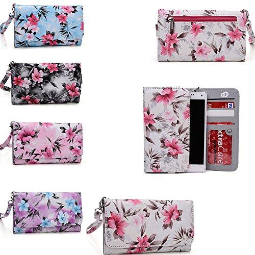 Archos 50b Platinum,Archos 55 Helium Plus,Archos Diamond Plus,Archos Diamond S Floral phone case holder w/wallet features (Archos Platinum 50b compare prices)