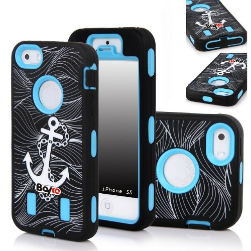 Bayke Brand Premium Armorbox Armor Defender Case for Apple Iphone 5C (5s & 5 Not Fit) Fashion Anchor Print Desgn High Impact Dual Layer Hybrid Full-body Protective Case (Sky Blue / Screen Protector not Include) at Amazon.com