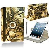 Stuff4 Camouflage Designed Leather Smart Case with 360 Degree Rotating Swivel Action and Free Screen Protector/Stylus Touch Pen for Apple iPad Air - Green