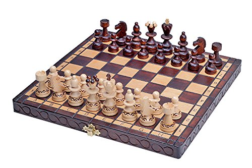 The Delbog Wood Chess Set with Chess Board and Storage 6