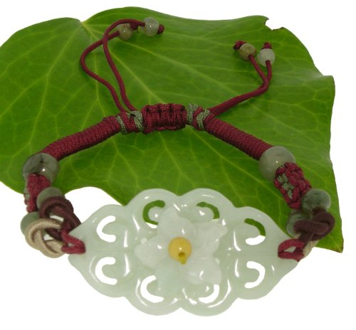 Lively and Colorful Three Dimensional Flower Knot Carving Large Pendant Jade Bracelet to Represent Union of a Marriage, Relationship, or Friendship Made with Maroon Cord