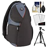 Tamrac 4278 Jazz 78 Digital SLR Camera Sling Backpack Case (Black Multi) with Tripod + Accessory Kit for Canon EOS 70D - 6D - 5D Mark III - Rebel T3 - T5i - SL1 - Nikon D3200 - D5200 - D5300 - D7100 - D600 - D800 - Sony Alpha A65 - A77 - A99