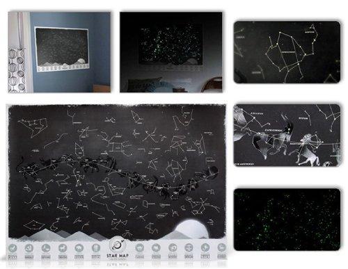 61.5 X 43.5 Cm Glow-In-The-Dark Constellation Star Map By Preciastore