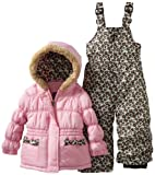 Pink Platinum Girls Toddler Leopard Solid Snowsuit
