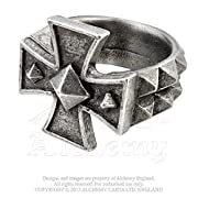 Cross of Iron Spiked Mens Ring by Alchemy Gothic