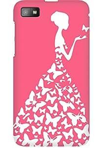 AMEZ designer printed 3d premium high quality back case cover for Blackberry Z10 (peach pink white girl princess)