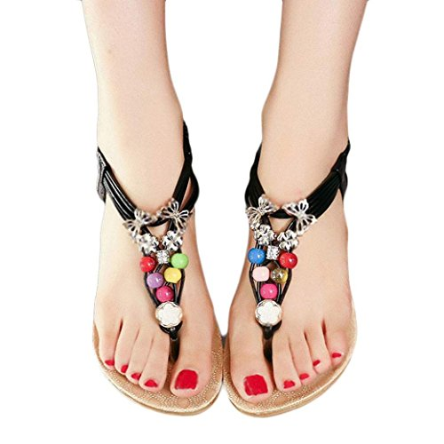 Start Women Summer Bohemia Colorful Bead Butterfly Sandals Shoes (US=8, Black)