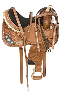 Hand Carved Tooled Barrel Racing Saddle Bling 15 16 (16)