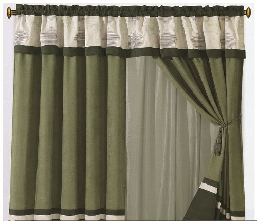 Pair of Micro Suede Olive Green / Beige with Emboridery Windows Curtains / Drapes / Panels with Sheer Linen Valance and Tieback