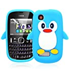 Magic Global Gadgets - New Sky Blue Soft Cute Penguin Silicone Gel Rubber Case Cover Skin For Nokia Asha 200 / 201 With Screen Guard