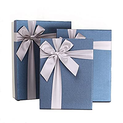 PaperStory-Premier 3 Pieces Nested Gift Box Set. With Dedicate Ribbon Bow. 13.5/12/10-Inch.