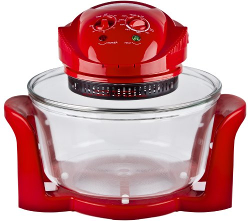 Andrew James 12 LTR Red Premium Halogen Oven Cooker + Easily Replaceable Spare Bulb + 2 YEAR WARRANTY + 128 page Recipe Book - Complete with Extender Ring (Up to 17 Litres) Lid Holder, Baking Tray, Steamer Tray, Skewers, Low and High Racks