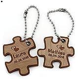 """Ein sehr schöner Schlüsselanhänger """"Partner Puzzle"""" aus Kirschbaum-Holz inkl. Gravur Wunschname (Design 2)"""