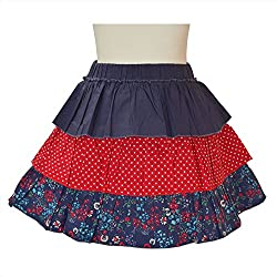 CrayonFlakes Kids Wear for Girls 100% Cotton 3 Tiered Navy/Red Short Skirt