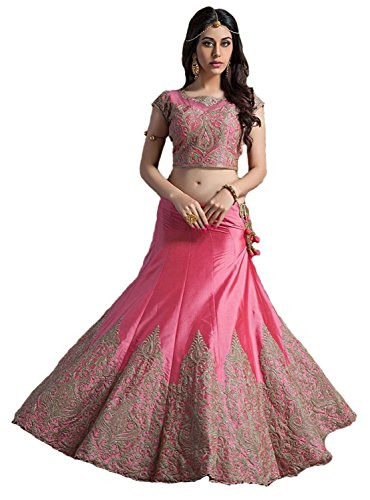 HMP Fashion Women's pink Cotton silk Salwar Suits Dress Materials/party wear/embroidery work