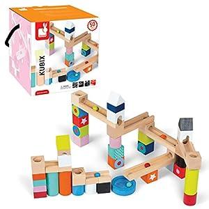 Janod - Kubix juego de construcción, tobogán con bolas, 50 piezas (08508073) - BebeHogar.com
