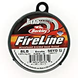 Beadsmith Fireline - Braided Bead Thread - Smoke - 50 Yards (8lb Test) (Color: Gray, Tamaño: 0.007
