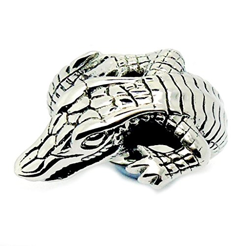 Mens Womens Stainless Steel Finger Rings Fastness Crocodile Design White Size 11 - Adisaer Jewelry