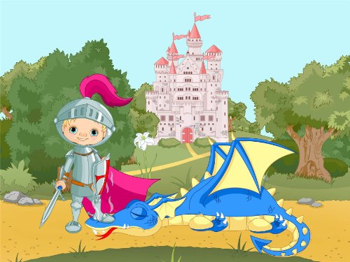 Nursery Landscape Fairy Tale Castle Knight Dragon Kids Bedroom 12 X 16 Inch Poster Mp4312B