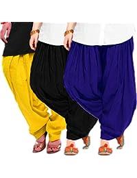 Women's BLUE-BLACK-YELLOW Cotton Patiala Salwar (pack Of 3)