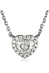 """White-Gold Diamond Heart Pendant Necklace (0.5cttw, G-H Color, I1-I2 Clarity), 18"""""""
