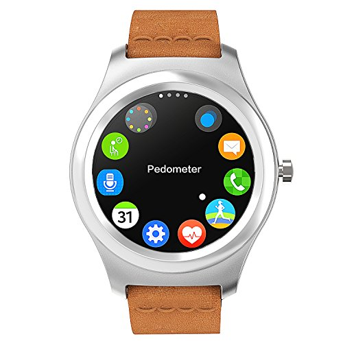 TECKING-32G-All-in-1-SmartwatchCell-Phone-Sync-to-IOS-Android-OS-with-Green-Heart-Rate-Hig-end-Silver