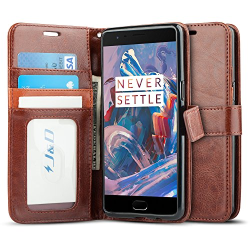 03. JD Slim Fit Protective Wallet Case for OnePlus 3 - Brown