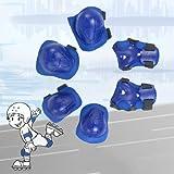 uxcell 肘膝パームプロテクター スケートサポート 子供 取り外し可能 ブルー 3ペア入り