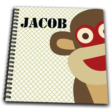 Db_178986_1 Ps Creations - Jacob Boys Name Monkey - Drawing Book - Drawing Book 8 X 8 Inch front-278830