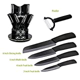Greenmall Ceramic Knife Set (6 Pieces)Slicing Utility Paring Fruit Knife Peeler With Sheaths and Holder Non-slip Handle