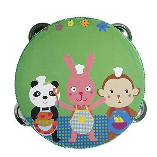 SODIAL(R) Tambourin tambour avec cloche Jingles metal en Motif bande dessinee coloree Percussion en bois jouet musical pour
