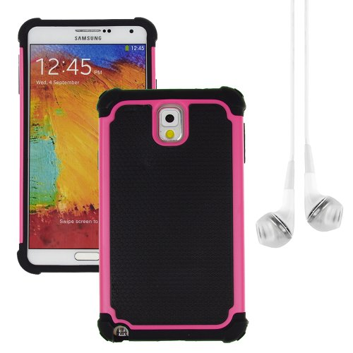 Hybrid Dual Layer Armor Defender Protective Case Cover For Samsung Galaxy Note 3 (At&T Verizon Sprint T-Mobile) + Vangoddy White Headphone (Rose)