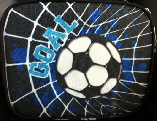 Soccer Ball Goal Blue Light up Insulated School Lunch Bag - 1