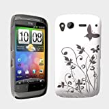 White / Silver Butterfly Flower Hard Hybrid Case Cover For The HTC Desire S