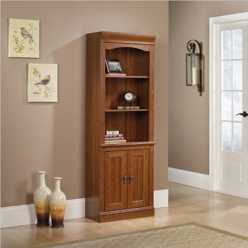 Sauder Camden County Library Bookcase With Doors in Planked CherryB0000E1VPZ