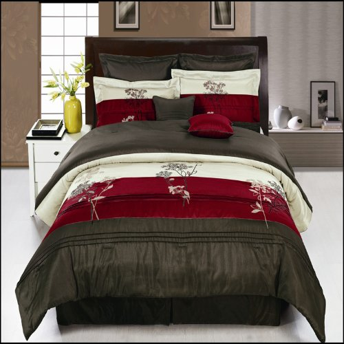 Portland burgundy king size luxury 8 piece comforter for King shams on queen bed