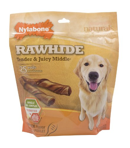 Nylabone Enhanced Rawhide Roll Treats, Chicken, Net Wt. 15.4 Oz., 25 Count
