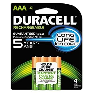 Duracell Rechargeable StayCharged AAA Batteries, 4 Count