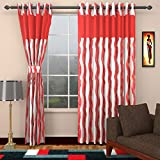 Ajay Furnishings 3 Piece Polyester Stripe Window Curtain - 5 ft, Red